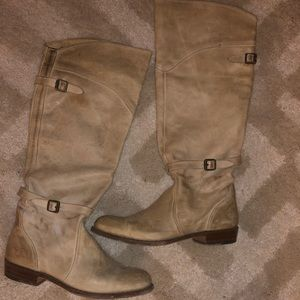 Frye beige distressed knee boots